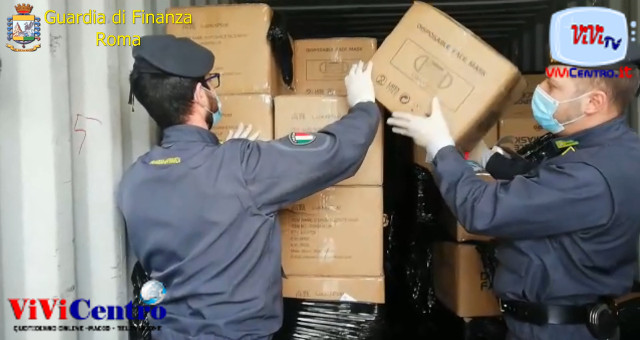 GDF Roma- container di mascherine non sicure- 2 cinesi arrestati