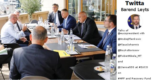 Charles Michel al tavolo con Klaus Iohannis e primo ministro Bulgaria, Boiko Borisov (twitter Barend Leyts)