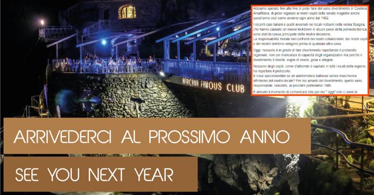 arrivederci al prossimo anno famous club praiano costiera amalfitana foto credit pagina facebook ufficiale