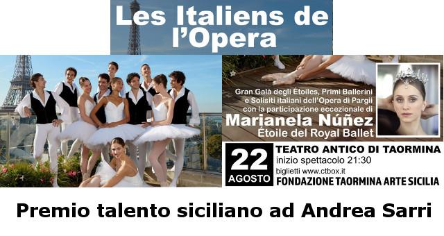 Les Italiens de l'Opera de Paris - Premio talento siciliano ad Andrea Sarri