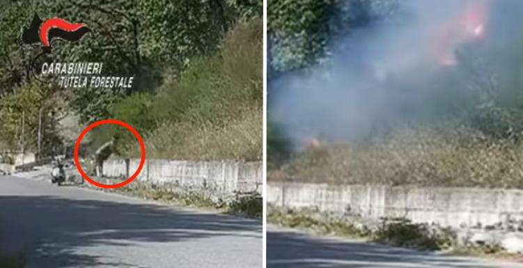 piromane sarno incendi boschivi telecamere foto free carabinieri