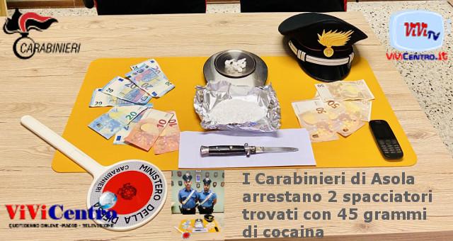 I Carabinieri di Asola arrestano due spacciatori trovati con 45 grammi di cocaina