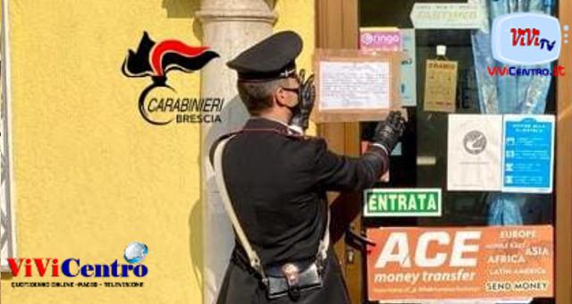 Carabinieri chiusura temporanea esercizio commerciale