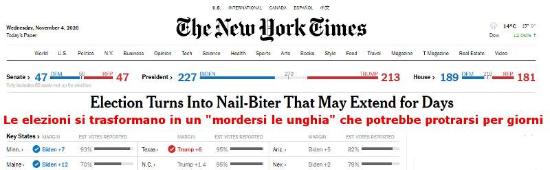 Elezioni USA ad ora, mercoledì mattina 041120 data italiana