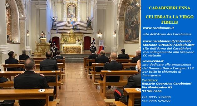 """""""Virgo Fidelis"""" è l'appellativo cattolico di Maria, madre di Gesù e quale patrona dell'Arma dei Carabinieri, celebrata con una Santa Messa"""