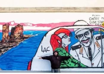Il murale di Lac68 di Gigi Proietti a Ladispoli