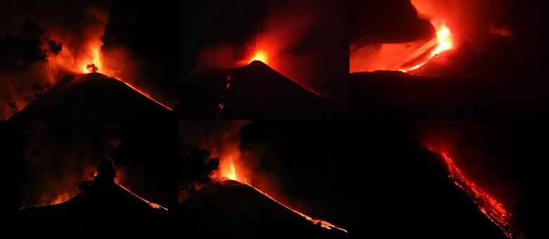 l'Etna ha iniziato da tre bocche un'attività stromboliana