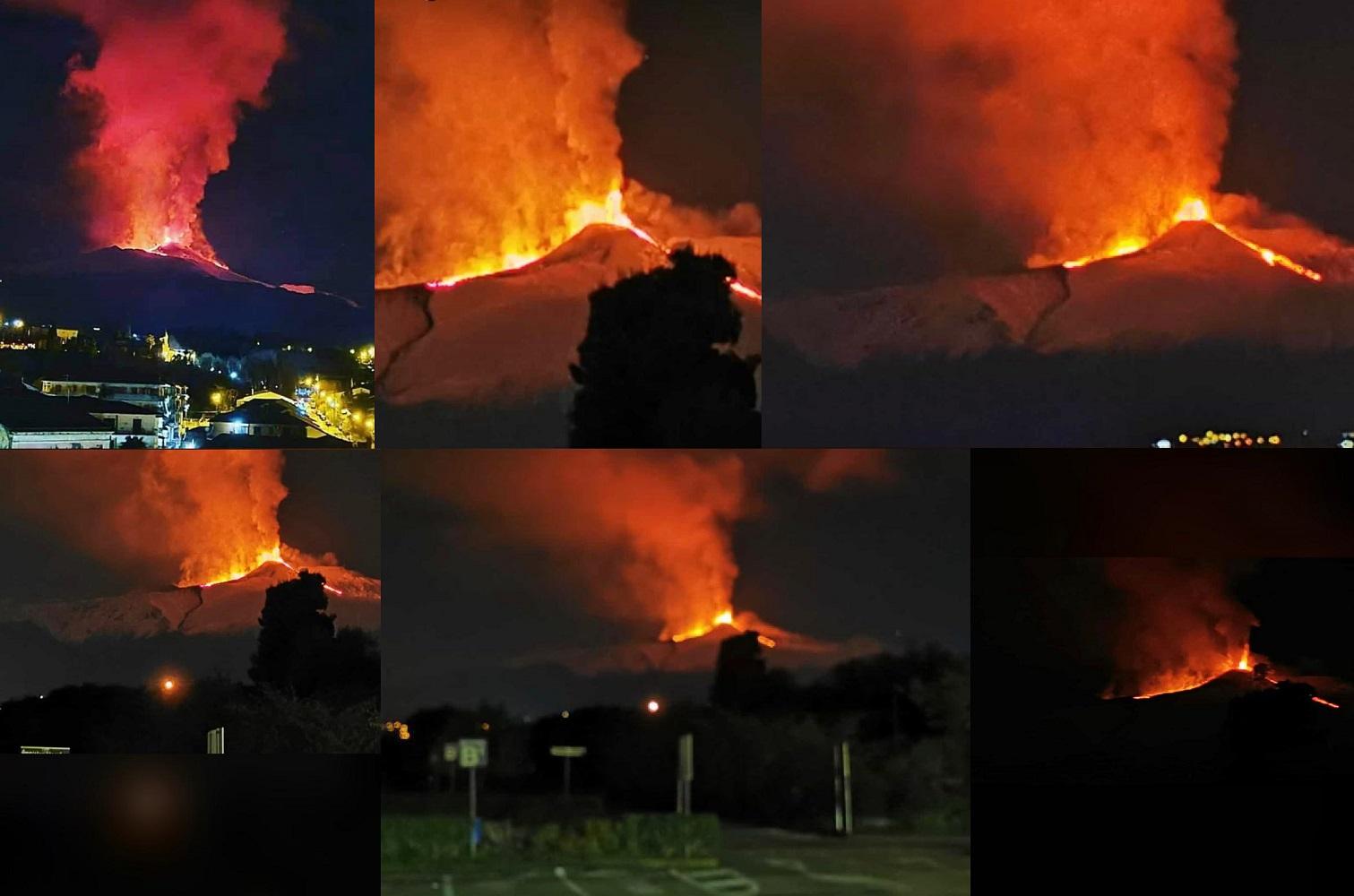 Continua l'eruzione dell'Etna con esplosioni e fontane di lava ben visibili da Catania