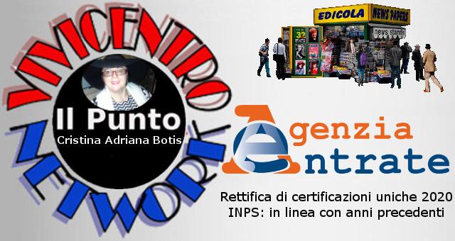 Rettifica certificazioni uniche 2020