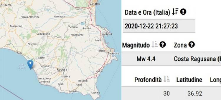 La scossa di magnitudo 4.4 è stata con epicentro nel Golfo di Gela in provincia di Ragusa