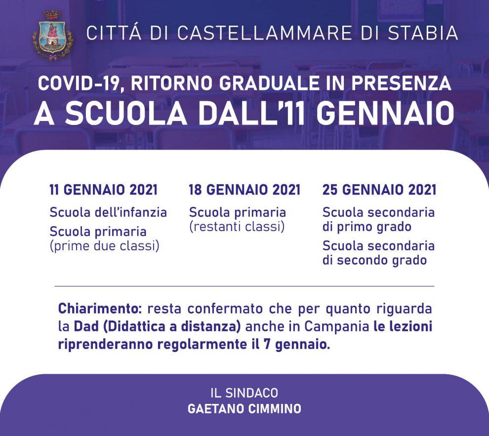 SCUOLA Castellammare: Calendario ripresa attività didattica
