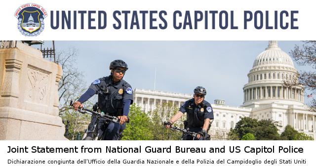 Dichiarazione congiunta dell'Ufficio della Guardia Nazionale e della Polizia del Campidoglio degli Stati Uniti