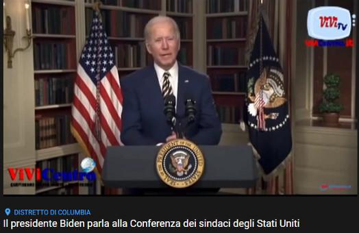 Il presidente Biden parla alla Conferenza dei sindaci degli Stati Uniti