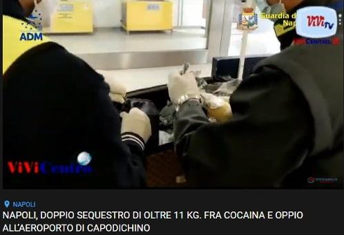 Sequestro di 11 kg fra cocaina e oppio all'aeroporto di Capodichino