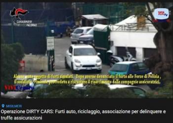 16 ordinanze cautelari eseguite dai Carabinieri di Misilmeri (PA) per furti di auto e truffa alle assicurazioni