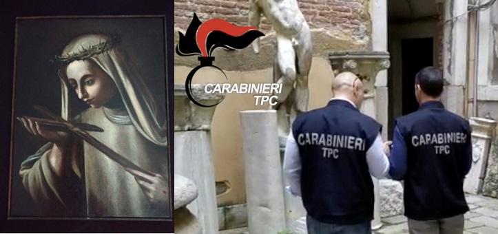 I carabinieri di Napoli restituiscono alla Curia di Palermo un prezioso dipinto