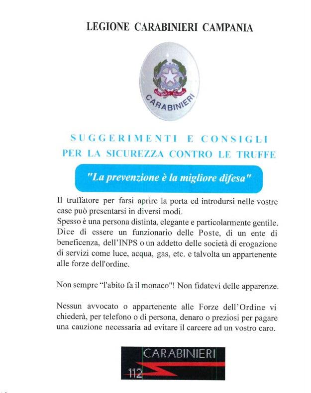 Truffe ai danni di anziani come difendersi. Brochure dei Carabinieri 01