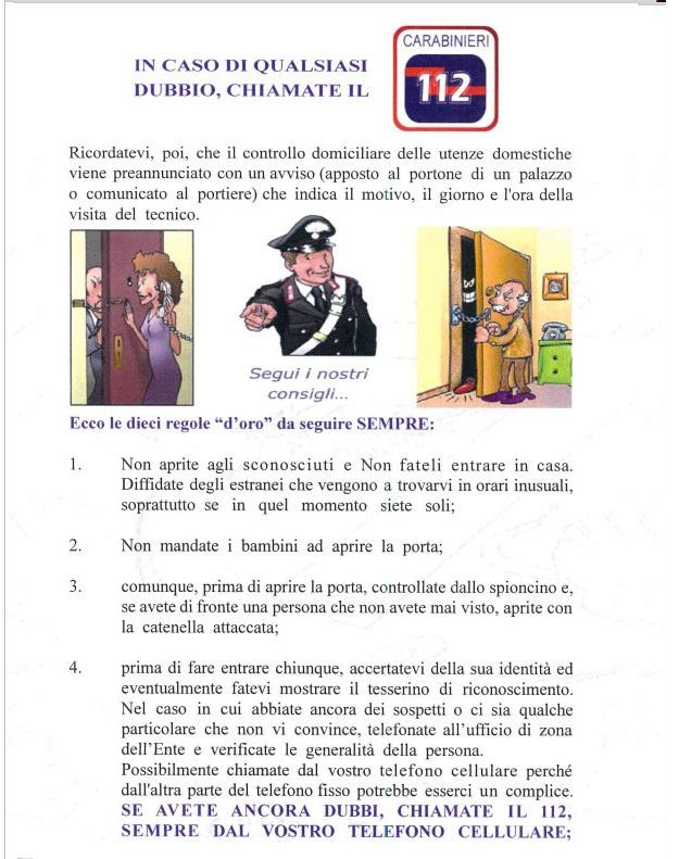 Truffe ai danni di anziani come difendersi. Brochure dei Carabinieri 03