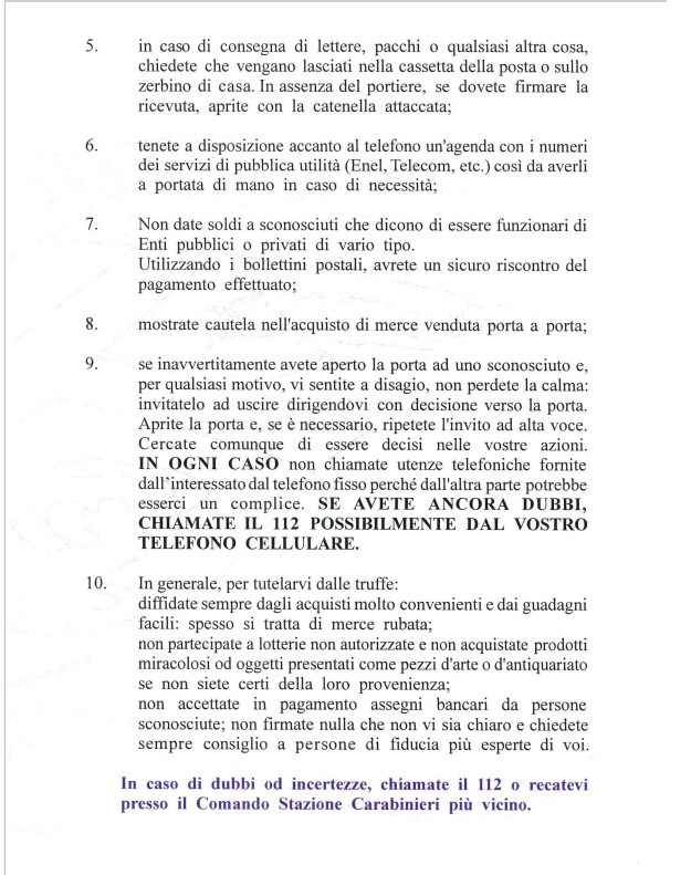 Truffe ai danni di anziani come difendersi. Brochure dei Carabinieri 04
