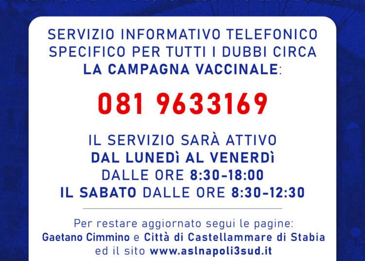 Castellammare di Stabia: campagna vaccinale, attivo servizio telefonico