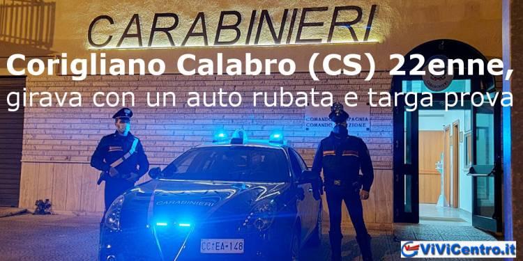 Corigliano Calabro (CS) 22enne, girava con un auto rubata e targa prova