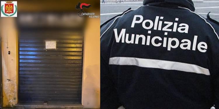 a Polizia Municipale di Palermo insieme ai CC Compagnia di Piazza Verdi hanno chiuso un pub abusivo
