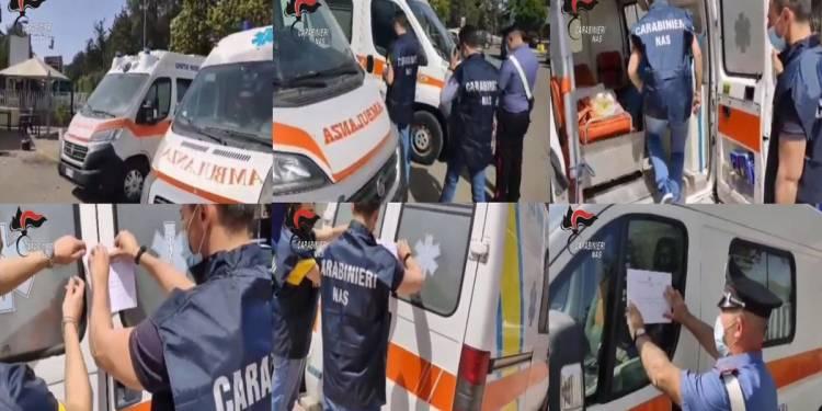 Sequestrate tre ambulanze private presso l'ospedale di Caltagirone dai CC del Nas