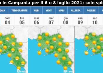 Il Meteo in Campania per il 6 e 8 luglio