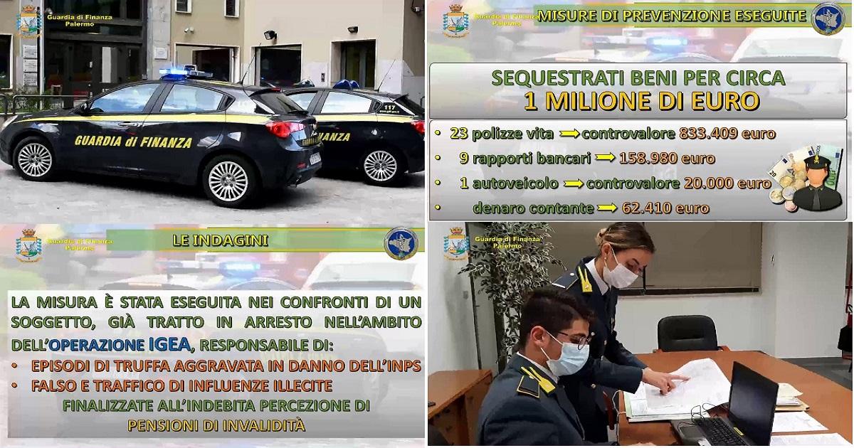 Il sequestro della GdF di Palermo per truffe ai danni dell'INPS