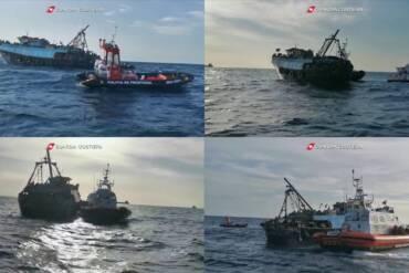 Al largo di Roccella Ionica (RC), la Guardia Costiera ha soccorso il peschereccio con 339 migranti